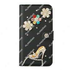Rhinestone Case Wallet Phone Cover Purse Black Bling Crystal Leather Shell Skin