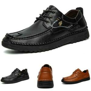 Mens Sports Round Toe Lace up Breathable Faux Leather Business Leisure Shoes
