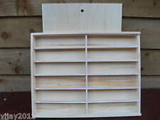 PINE CASE CABINET TOP SLIDING LID 12 COMPARTMENTS BEADS MODEL DISPLAY DECOUPAGE