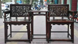 """36""""Collect China furniture Huanghuali wood Carved Dragon Beast Tables Chair set"""