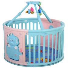 HOMCOM Baby Laufgitter rundes Schutzgitter mit Tür und Spiel für 6-36 Monate PE