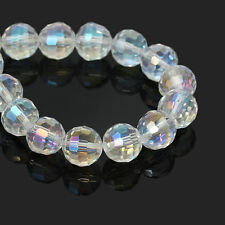 25 Faceted CLEAR AB Glass Crystal Beads 10mm bgl0876