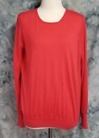 Theory Womens sz L Pink Red Silk Wool Long Sleeve Thin Pullover Belinda Sweater
