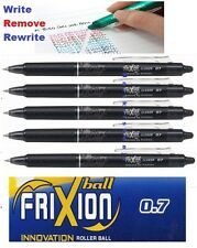 5pcs Pilot FriXion Clicker 0.7mm erasable roller ball pen BLACK INK UK Seller