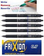 5pcs Pilot FriXion Clicker 0.7mm erasable roller ball pen BLACK INK UK Seller
