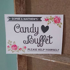 PERSONALISED CANDY BUFFET VINTAGE ROSE WEDDING SIGN/PRINT PHOTOS