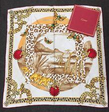 RARE, MUST de CARTIER Diamond Jewelry SAFARI Animals Silk Scarf Shawl W/Box