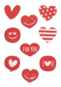 Valentine's Day Fondant Top Decor - Hearts Happy Face Variety Shapes, 88 pcs