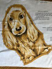 Vintage English Cocker Spaniel Puppy Dog Print Cut and Sew Fabric Pillow Unused