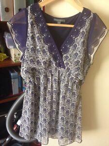 Patch Blue Floral Print Cap Sleeve Blouse Size S
