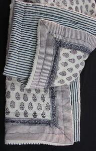 Hand Block Jaipuri Razai Solid White 100% Cotton Print Filling Twin Size Quilt