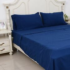 Navy Microfiber Pre-washed 4 Piece Bed Sheet Set Full