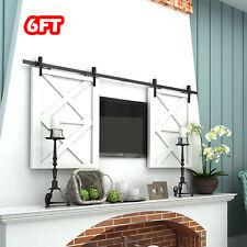 6FT Rustic Steel Sliding Barn Wood Double Door Cabinet Closet Hardware Track Set