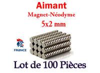 AIMANT NEODYME MAGNET DISQUE PUISSANT ROND 5X2 MM LOT DE 100 PIECES