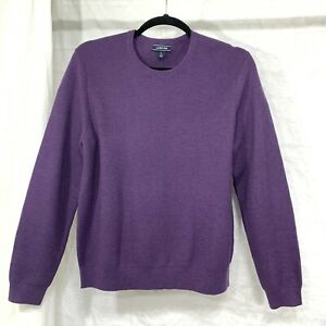 Land's End Men L Sweater Purple Merino Wool Blend Pullover #A