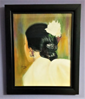 Untitled Dancer with White Flower ☆ ORIGINAL OIL PAINTING FRAMED & SIGNED