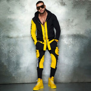 Mens Tracksuit 2 Piece Casual Pants Jacket Sweatsuit Hip Hop Sweatshirt Thin Set
