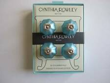 NEW Cynthia Rowley Aqua Frosted Glass Drawer Pulls Knobs Set of 4