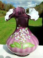 Fenton Purple-Lavender Overlay Floral Ruffled Rib Optic Vase Signed: Don Fenton