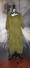 Lagenlook Italian Green Abstract Boho Balloon Tulip Dress Tunic Size 12 14 16 18