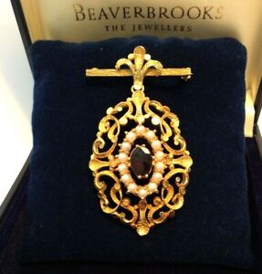 Antique Gold 9ct Brooch Regal Pendant Pearls Garnet 10.5g Coverts to Pendant