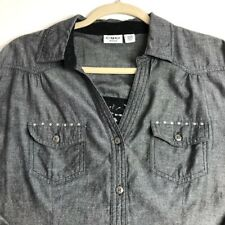 Cato Women Long Sleeve Button Up Western Shirt 18 20 W Plus Chambray Bling Lace
