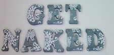 """Wood Letters- Wall Letters- Decorated Letters-Large- """"GET NAKED"""" Bathroom Decor"""