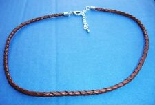 """Western Jewelry 18"""" Braided Leather Cord 4 MM Necklace W/2"""" Extender Chain USA"""