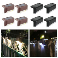 4x LED Solar Deck Lights Outdoor Pathway Stairs Fence Lamps Warm White Garden
