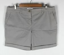 Trenery Womens Light Grey Stretch Shorts Mid Rise Turn Up Hem - Size 16