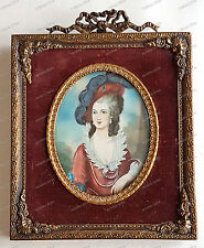 Dame-Frau-Hut-Miniatur-Lupen-Malerei-Antik-Gemälde-Bild