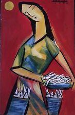 "FISH VENDOR - Philippine Art Acrylic Painting by Mar de la Cruz 16x10"""