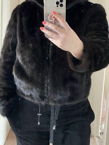 VINTEGO SAGA Russian Real Mink Fur Brown Lady Driving Coat/Jacket Size L RRP££££