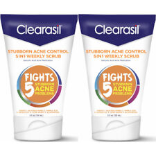 2 Pack Clearasil Stubborn Acne Control 5in1 Weekly Scrub, 5 Ounces Each