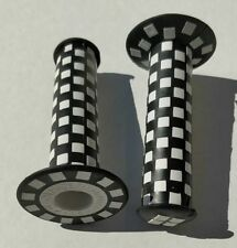 Old school BMX bicycle checked checkerboard bike grips - 125mm - BLACK and WHITE