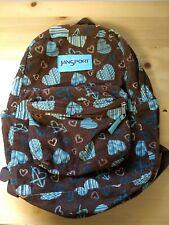 Vintage Jansport Corduroy Backpack Hearts brown Retro 90s School Bag