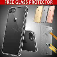 For Apple iPhone 8 7 6 Clear Gel Case Cover and Tempered Glass Screen Protector