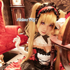 Anime Shining Hearts Mistral Blonde Bangs Cosplay Straight Wig+130CM Ponytails