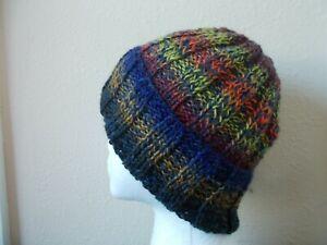 Hand knitted cozy & warm wool beanie/hat, gradient tones+ navy, men's/women's