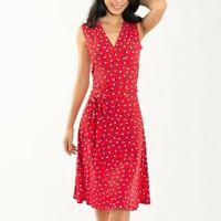Leota Womens Sleeveless Finnley Jersey Faux Wrap Dress Martini Dot Red Small