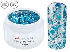 UV Crisp Effekt Gel Türkis 5ml Glitzergel Farbgel Color Nailart Modellage Nägel