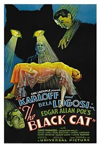 THE BLACK CAT - Karloff / Lugos - A4 REPRO VINTAGE HORROR FILM POSTER PRINT