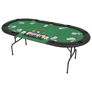 Oval 9 Player Folding Poker Table Foldable Casino Tabletop Green Upholstery