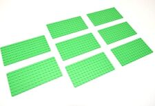 (8) Genuine LEGO Baseplates 8x16 MiniFigure - BRIGHT GREEN Thin - NEW Base Plate