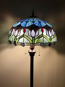 Enjoy Tiffany Style Floor Lamp Tulips Blue Stained Glass Vintage EF1655 64H16W