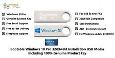 Microsoft Windows 10 Pro 32/64Bit Genuine License & USB Boot Installation Drive