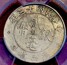 1924 China Kwangsi (桂)Province 20 Cash Silver Coin PVC: AU Details