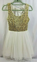 B Darlin White Gold Tulle Party Cocktail Holiday Dress Juniors 3 4 Christmas