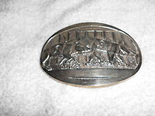 SOLID BRASS BELT BUCKLE RARE FIRST EDITION RACING PIGS HOGS