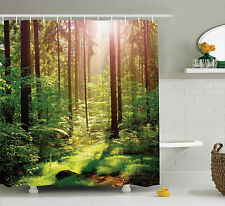 Shower Curtain Forest Decor Sunset at Nature Themed Green 84 Inches Extra Long